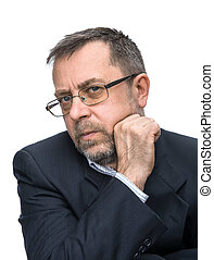 Portrait of senior businessman in a black jacket