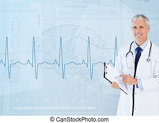 Portrait of smiling senior cardiologist using a clipboard