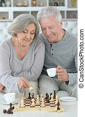Portrait of senior couple playing chess