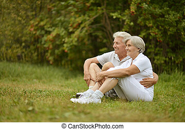 Portrait of senior couple - Portrait of loving elderly...