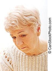 Portrait of senior depression woman
