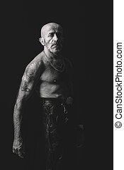 Portrait of senior man in black and white