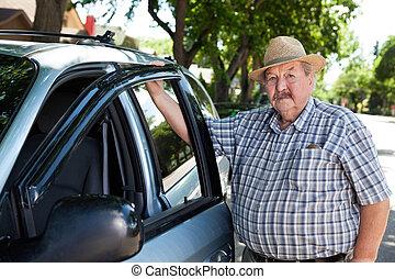 Portrait of Senior Man with Car