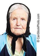 Portrait of senior woman over white