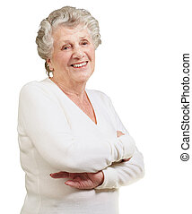 portrait of senior woman smiling over white background