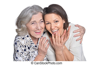 woman with daughter smiling