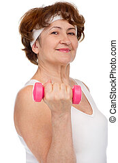 senior woman with dumbbell