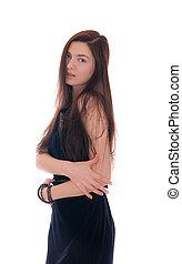 sensual girl in dark dress