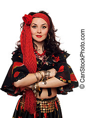 Portrait of sensual gypsy woman. Isolated