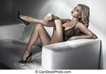 Portrait of sensual woman wearing sexy lingerie