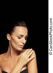 Young beauty with glowing complexion - Portrait of sensual ...