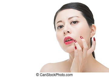 Portrait of sensuality glamour red lipstick asian women