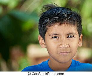 Portrait of serious hispanic boy