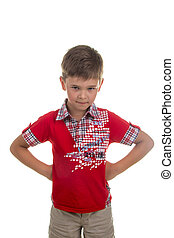 Portrait of serious kid in red T-shirt, isolated on white background