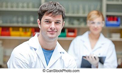 Portrait of serious scientists