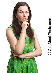 Portrait of sexy beautiful woman in green dress