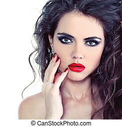 Portrait of sexy beautiful woman with bright make-up and curl hairs