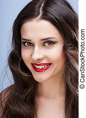 portrait of sexy brunette with red lips