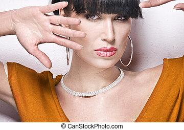 Portrait of sexy brunette woman