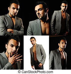 Portrait of sexy male model isolated on white background, collage composition
