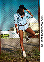 portrait of sexy urban modern young stylish woman girl model...