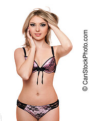 Portrait of sexy young blonde in lingerie