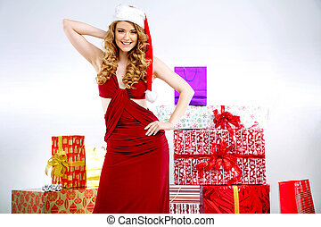 Portrait of sexy young Santa's wife