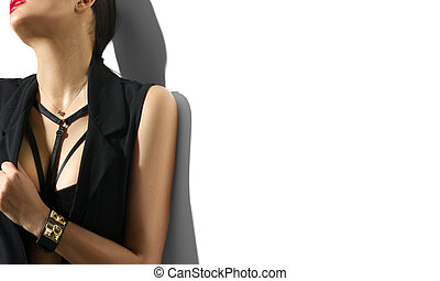 Portrait of sexy young woman in black clothes isolated on white background