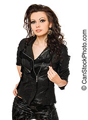 Portrait of sexy young woman in black clothes. Isolated