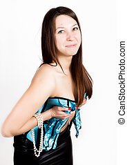portrait of sexy young woman in corset with lacing posing