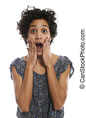 portrait of shocked hispanic woman with mouth open -...