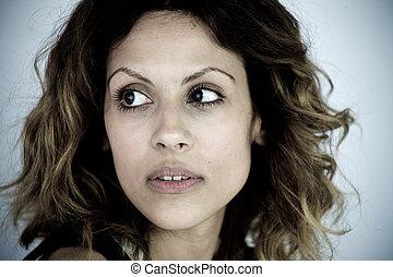 Portrait of sick anorexic woman