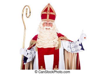 Portrait of Sinterklaas with staff, on a white background