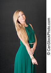 Portrait of slim blonde