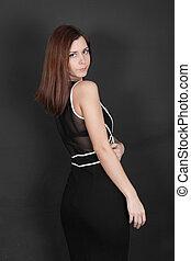 girl in black dress
