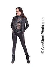 slim girl in black