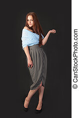 slim girl on a black background