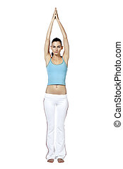 slim woman practicing yoga
