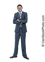 Portrait of smiling African American business man standing over white background