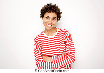 smiling african american woman in striped shirt against white background