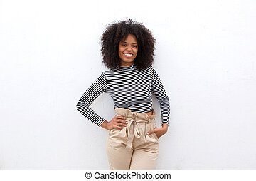 smiling african american woman in striped shirt