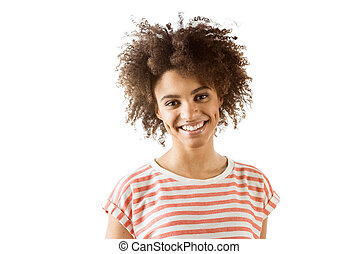 portrait of smiling african american woman looking at camera isolated on white