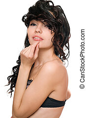 Portrait of smiling attractive young brunette. Isolated