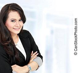 Smiling beautiful young business woman