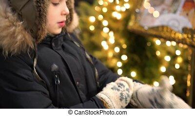 Portrait of smiling boy in winter