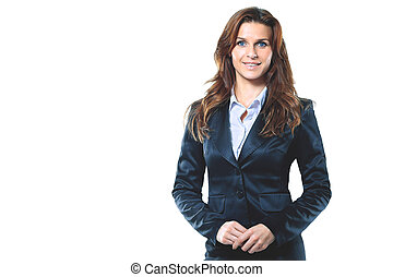 Portrait of smiling business woman, isolated in the white background
