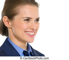 Portrait of smiling business woman looking on copy space