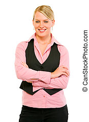 Portrait of smiling business woman with crossed arms on chest
