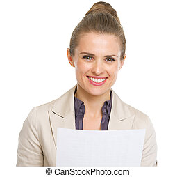 Portrait of smiling business woman with document