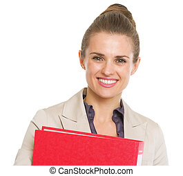 Portrait of smiling business woman with folder